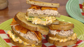 Try this 'Chopped' judge's double-decker sandwich topped with barbecue chips