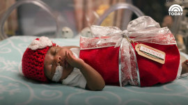 Greatest gift: These premature babies are dressed as presents