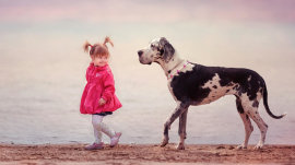 Little kids and their big dogs make a delightful pair