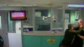 Jailhouse cameras capture nasty brawl between two deputies
