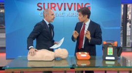 Dr. Oz shows how to use a public defibrillator, administer CPR to save a life