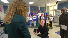 Marry Me TODAY: Watch schoolteacher stunned by surprise proposal on air