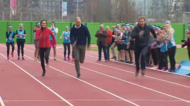 Duchess Kate is outrun by Prince William and Prince Harry in relay race