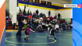 Watch 4-year-old wrestler's unique strategy: Running away from his opponent