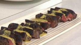 See Bobby Flay make steak with wild mushroom salad, truffle vinaigrette