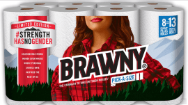 Brawny puts a woman on its paper towel packaging for the first time