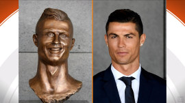 Soccer star Cristiano Ronaldo's bronze bust is a bit of a miss