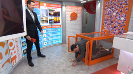Watch Jimmy Fallon's surprise visit to the Orange Room (and puppy crate)