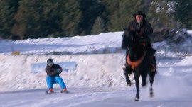 What is skijoring? See the intense sport of getting pulled by a horse