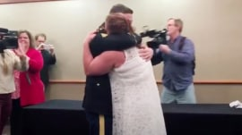 Back from deployment, son surprises mom at her graduation