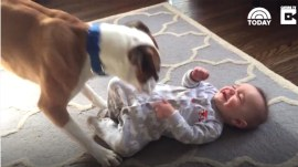 Boxer tickles baby to stop it from crying, has cutest gigglefest ever