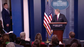 Rob Gronkowski crashes Sean Spicer's press briefing, fist-bumps Trump