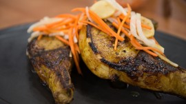 Maple and turmeric marinated pork chops: 'Top Chef' alum demonstrates