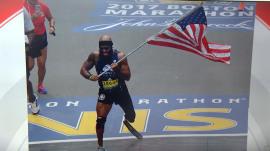 Marine who lost leg runs entire Boston Marathon carrying American flag