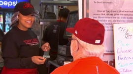 Watch Sheinelle Jones go undercover serving Philadelphia cheesesteaks