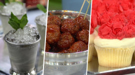 Kentucky Derby party ideas: Mint julep, bourbon meatballs, red rose cupcakes