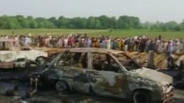 Oil tanker flips over, explodes in Pakistan; at least 148 feared dead