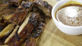 Lightened up: Orange-glazed pork ribs, tangy barbecue sauce