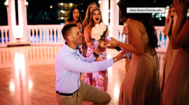 This bride arranged her friend's surprise proposal – at her own wedding!