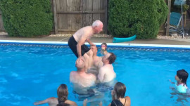 Watch this 79-year-old grandpa do a backflip into swimming pool