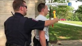 Watch police cadets try not to laugh at a rubber chicken