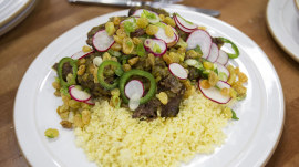 Learn to make delicious short ribs with spiced couscous and raisin salad