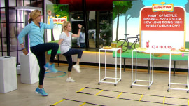 Watch KLG and Hoda do zany exercise stunts playing 'Burn It Off!'