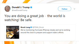 Donald Trump tweets to FEMA: 'The world is watching! Be safe'