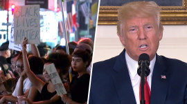 Protests greet Trump after he denounces hate groups under pressure