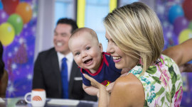 Dylan Dreyer's husband and baby (as Superman) give her a birthday surprise