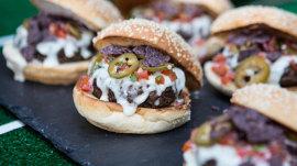 Make Bobby Flay's cheesy nacho burger to watch Sunday night football