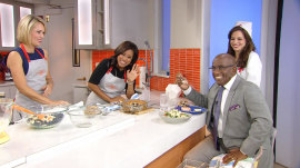 See Sheinelle and Dylan make steamed salmon, blueberry buckle for Al Roker