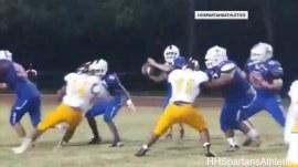 Watch high school quarterback throw for a touchdown on her first pass