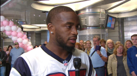 Houston Texan NFL player Kareem Jackson helps tackle cancer with some winning passes