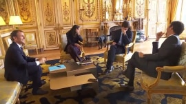 French President Emmanuel Macron's new dog relieves himself – in the middle of a meeting