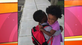 Watch this 3-year-old girl welcome big brother home from kindergarten