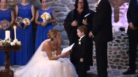 Bride includes stepson and her groom's ex-girlfriend in her vows