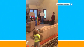 Watch this 2-year-old's incredible trick shot with a Nerf ball