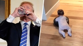 Highs and Lows: Donald Trump sipping water, Roomba dragging baby