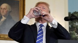 Trump's water-sipping during speech is grist for comedians