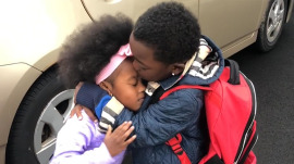 Sibling love: Big brother, 5, greeting little sister, 3, will melt your heart