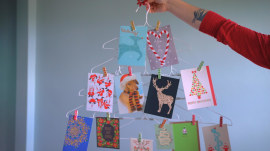 Try this easy-to-make hanger tree to display holiday cards