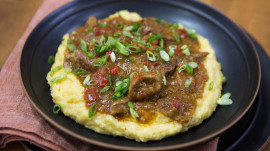 Make New Orleans comfort food: Pork grillades and cheesy grits