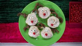 Breakfast treats for Christmas morning: Pancakes, reindeer cinnamon roll