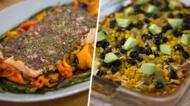 1-pan mustard salmon, 7-layer chicken casserole: They're easy and healthy
