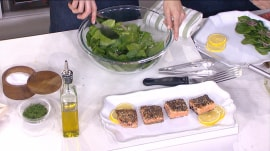 Make 'everything' salmon with sherry spinach salad: Only 5 ingredients!
