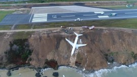 Plane skids off runway onto cliff edge in Turkey with 168 aboard