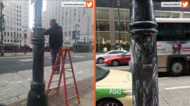 Philadelphia police are dubbed 'Crisco cops' for greasing light poles after win