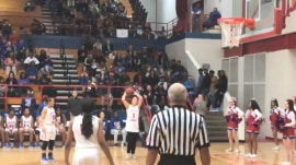 Watch student with autism sink basket on her very first shot