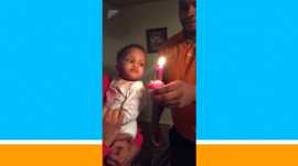 Forget blowing out the candles: Baby slaps birthday flame
